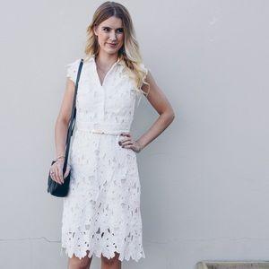 White crochet lace overlay midi dress chicwish